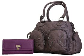 Fino Pu Quilted Leather Bag & Pu Leather Purse with Lock Set - Purple (TX-1238+1566-765)