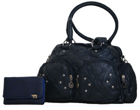 Pu Quilted Leather Bag & Pu Leather Purse Set (TX-1238+1501-093)- Navy Blue
