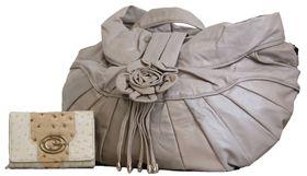 Fino Maxi Pu Leather Shoulder Handbag & 2 Tone Ostrich Leather Purse Set - Beige(HB212+3718-093)