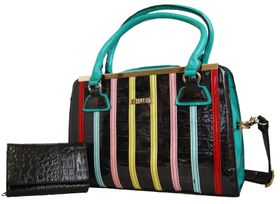 Fino Pu Patent Leather Structure Handbag & Patent Leather Croc Purse Set - Black(HB652+70-093CRO)