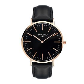 Burano Italy Mazzorbo Watch - Rose Gold & Black Face with Black Leather Strap
