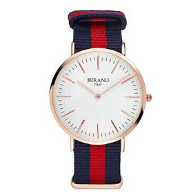 Burano Italy San Martino Watch - Rose Gold Face with Blue and Red Nylon Strap