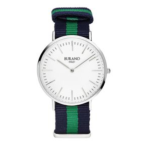 Burano Italy San Giorgio Watch - Silver Face with Blue and Green Nylon Strap