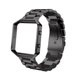 Metal Stainless Steel Frame & Band for FitBit Blaze - Black