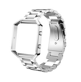 Metal Stainless Steel Frame & Band for FitBit Blaze - Silver