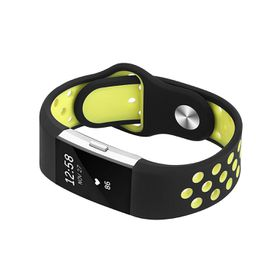 Silicone Sports Band for FitBit Charge 2 - Black & Yellow (Size: Med/ Large)