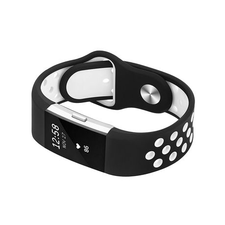 Silicone Sports Band for FitBit Charge 2 - Black & White (Size: Med & Large)