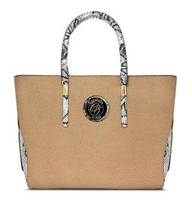 Cazabella Large Leatherette Handbag - Beige