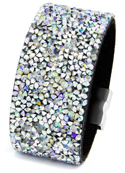 Cazabella Wide Bracelet with Shimmering Geo Accent