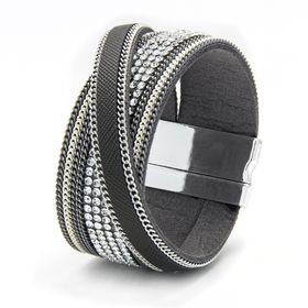 Cazabella Silver Tone Grey Leatherette Magnetic Bangle with Crossover Strap