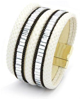 Cazabella Encrusted Bracelet - White & Crystal