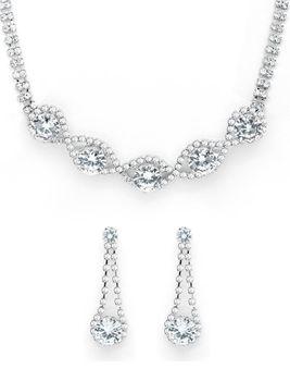 Cazabella Earring & Necklace Set -Silver