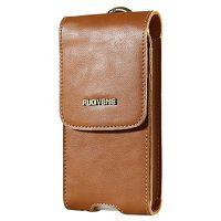 Floveme Vintage Unisex Leather Phone Pouch-Brown