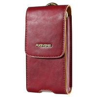 Floveme Vintage Unisex Leather Phone Pouch-Red