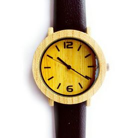Classic Wooden Leather Womans Watch-Black
