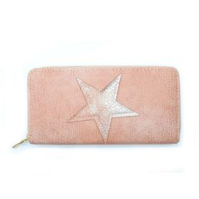 Lily & Rose Peach With Star Zip Through Purse