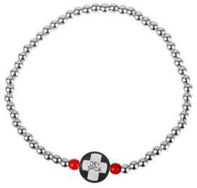 Red Paw Project Stainless Steel Bracelet Dark Silver (Size: Large)