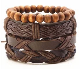 URBAN Charm Vegan Leather Beaded Bracelet Stack - Basic Brown