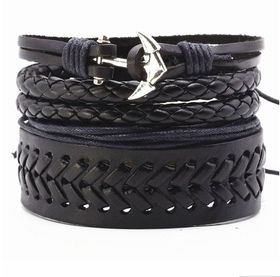 URBAN Charm Vegan Leather Beaded Bracelet Stack with Cuff & Anchor - Black