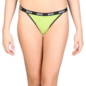 Datch Contrast Coloured G-String for Women - Green/Black