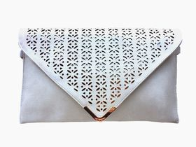Vikson Cream Perforated Envelope Clutch