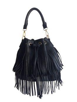Vikson Black Fringe Bucket Bag