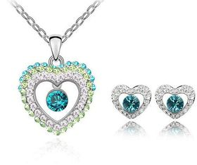 Austrian Crystal Heart Necklace & Earring Set by Treasures