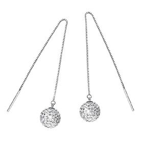 Plated Long Shambhala Earrings by Treasures -White Gold