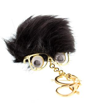 On Fleek Pom-Pom Key Chain With Glasses - Black