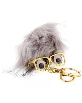 On Fleek Pom-Pom Key Chain With Glasses - Grey