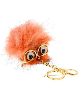 On Fleek Pom-Pom Key Chain With Glasses - Coral