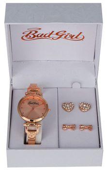 Bad Girl Truffle Steel Alloy Ladies Watch - Rose Gold Ribbon Earing Set