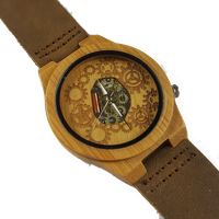 WoodZee Changing Gears Wooden Bamboo Watch with Leather Strap