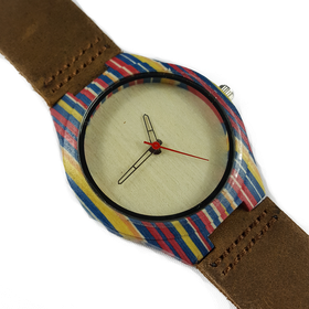WoodZee Color Attack Wooden Watch with Brown Leather Strap