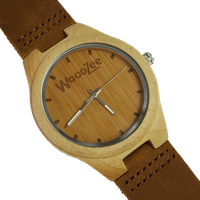 WoodZee Fancy This Wooden Bamboo Watch with Leather Strap