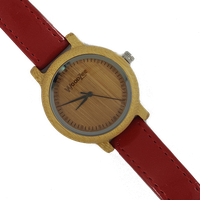 WoodZee Lady in Red Wooden Bamboo Watch with Red Leather Strap
