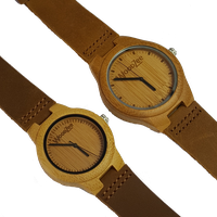 WoodZee Love Birds Bamboo Couples Watches with Leather Strap