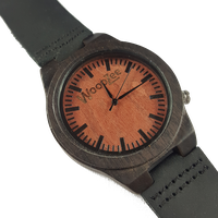 WoodZee Maroon Force Wooden Ebony Watch with Black Leather Strap