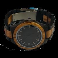 WoodZee Boss Zebrawood Watch with Wood Links