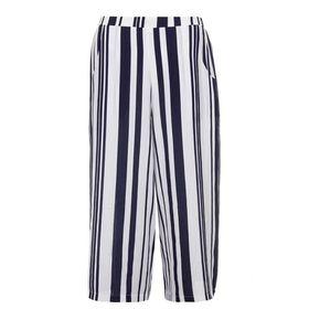 Quiz Womens Navy & White Stripe Culotte Trousers
