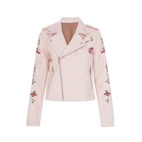 Quiz Womens Pink PU Embroidered Biker Jacket