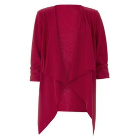 Quiz Womens Red Waterfall Front 3/4 Ruched Sleeve Jacket