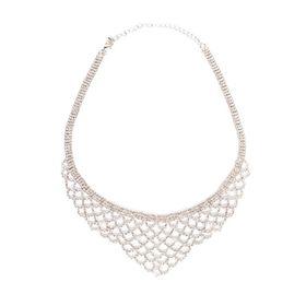 Quiz Womens Silver Diamante Scallop Statement Necklace