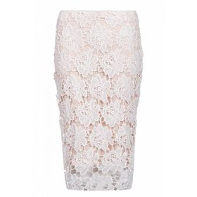 Quiz Womens White & Nude Lace Midi Skirt