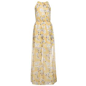 Quiz Womens Yellow & White  High Neck Floral Maxi Dress