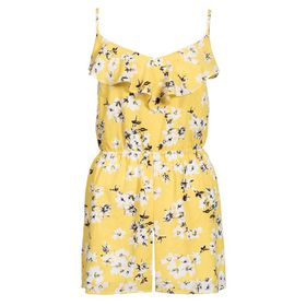 Quiz Womens Yellow Floral Print Frill Playsuit