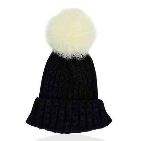 a41363dd862 Adult Black Beanie with White Faux Fur Pom