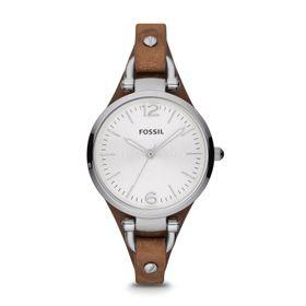 Fossil Ladies Georgia Brown Leather Strap Watch - ES3060