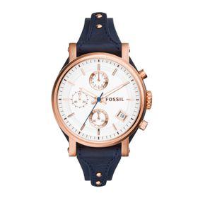 Fossil Ladies Old Boyfriend Navy Leather Strap Watch - ES3838