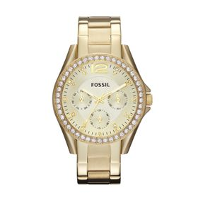 Fossil Ladies Riley Gold Stainless Steel Strap Watch - ES3203
